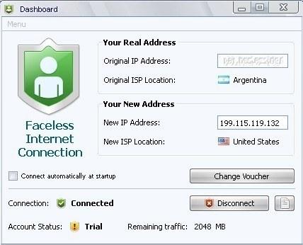 Faceless Internet Connection for Mac OS X full screenshot