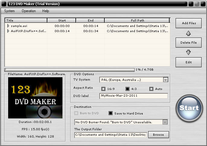 123 DVD Maker Screenshot
